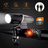 HELIAN Lumière De Vélo Avant Et Arrière 6 Modes Ultra Puissant Lumineuses Parfait Facile Installer avec USB Rechargeable, Ant