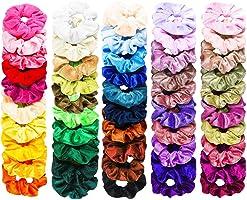 FAMINESS 50 Stück Samt Haargummis | 50 Farben Elastische GummibänderHaarbänder Scrunchies | Pferdeschwanz Haarband...