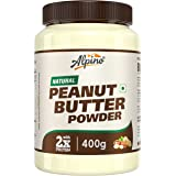 Alpino Natural Peanut Butter Powder 400 G | Unsweetened | Made with 100% Roasted Peanuts & Vitamin E | 50% Protein | 85% Less