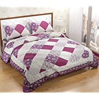 Lehar Decor Quilted Patchwork Double Size (90 x 100 inches) Microfiber Designer Glace Cotton Soft Lightweight Coverlet Bedspread/Bedcover with Two Pillow Cases- 3 Pieces,Lilac