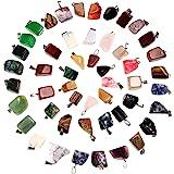 Hicarer 50 Pezzi Misto Irregolare Guarigione Perline di Pietra di Cristallo Pendenti Quartz Charm con Borsa di Stoccaggio per