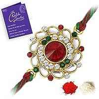 Sukkhi Elegant Kundan Rakhi with Roli Chawal and Raksha Bandhan Greeting Card For Men (RAK73480)