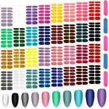 384 Stuks Volledige Wraps Nagellak Stickers, Kalolary 32 Vellen Effen Glitter Kleur Nagel Wraps Zelfklevende Nagelstickers Pl