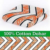 DivineCasaHomeLinen100% CottonReversibleKidsDohar,Blanket,Quilt, ThrowSingleBed (Abstract, Orange)