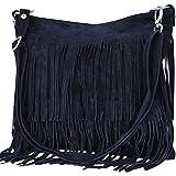 AMBRA moda donna, WL809, borsa da donna con frange, a tracolla, in pelle scamosciata, 32cm x 29cm x 2cm