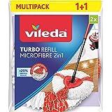 Vileda Recharge Turbo 2en1, microfibres rouges et blanches - Sachet contenant 2 recharges