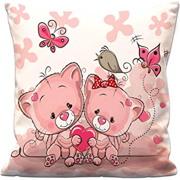 Aart Store Valentine Gifts for Boyfriend Girlfriend Two Cats On Background Heart Printed Cushion Cover with Filler 12X12 Inches Gift for Him Her Wife Husband Fiance