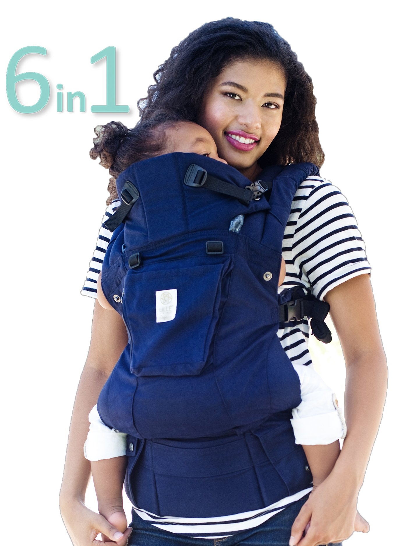 SIX-Position, 360° Ergonomic Baby & Child Carrier by LILLEbaby - The Complete Organic (Blue Moonlight) Lillebaby ERGONOMIC: Perfect for newborns. No insert needed. COMFORT: Voted most comfortable baby carrier. SIX (6) POSITIONS: Front inward (fetal, infant, or toddler settings), front outward, hip or back carry. 7 - 45 lbs. 1