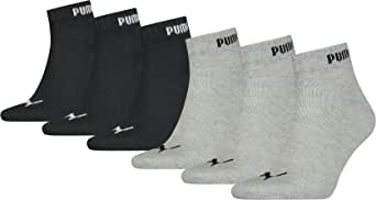 6 Pairs Puma Unisex Cotton Rich Quarter Trainer Sports Socks