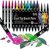 Rotuladores Lettering 24 Colores Rotuladores Doble Punta Pincel Acuarelables Marcadores para Adultos Lettering Arte Dibujo Ca