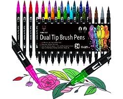 Dual Brush Pen Set, 24 Farben Filzstifte Dicke und Dünne Pinselstifte Für Kinder Erwachsene Bullet Journal Stifte, Handletter