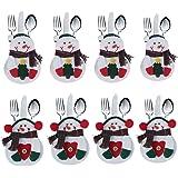 Deggodech Bolsa Cubiertos Navidad de Monigote de Nieve Elk Papá Noel Cubertería Decoración Navidad Bolsillos Tenedores Cuchar