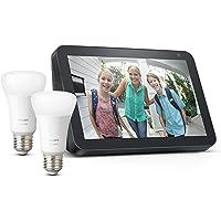 Echo Show 8 - Tessuto antracite + Lampadine intelligenti a LED Philips Hue White, confezione da 2 lampadine, compatibili…