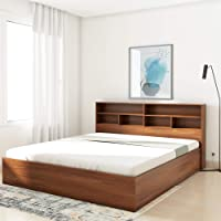 Amazon Brand - Solimo Canes Engineered Wood King Bed with Box Storage (Walnut finish)