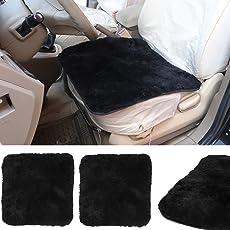 WOLTU AS7340sz-2 Universal Autositzkissen Lammfell Sitzkissen 100% Echtlammfell, Feste Wolle, 2er Set, ca. 1.8cm Dicke, 50 x 50 cm, Schwarz