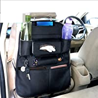 Coku Universal Back Seat Car Organizer Multi Pocket Storage with Document, Water, Bottle Tablet and Tissue Holder (Black…