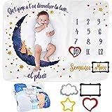 Couverture Etape Bébé en FRANÇAIS   Couverture Mensuelle pour Bébé Unisexe   Couverture Personnalisée Babyshower   Thème Lune