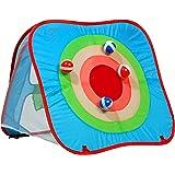 dobar 30480 - 2 Spiele-Zauberzelt in Einem Zielwerfen mit Zielscheibe und Wurfsäckchen-Spiel, buntes Zelt drehbar mit 8 Wurfelementen