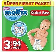 Molfix 3D Külot Bez Midi (3) Beden, Super Fırsat Paketi 94 Adet