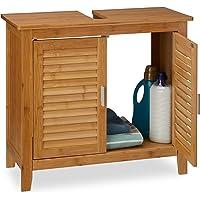 Relaxdays 10019203 Meuble dessous de lavabo LAMELL pour la salle de bain cuisine 2 Portes en bambou Sous-lavabo…