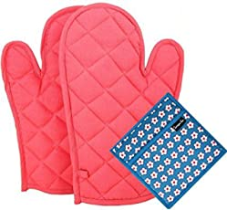 DM COOL Cotton Quilt Oven Glove and Pot Holder (33 x 16cm) - Set of 2