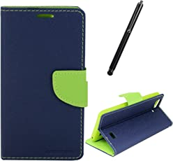 DMG Diary PU Leather Flip Cover Wallet Stand Case for Reliance LYF Wind 5 (Pebble Blue) + Touch Screen Stylus