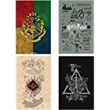 MC SID RAZZ -Official Harry Potter Wall Poster Set of 4 [ Grey + House Crest Multicolour + Marauder's Map + Triangle…