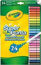 Crayola Pennarelli Lavabili Pennarelli Lavabili, Punta Media, per Scuola e Tempo Libero, Colori Assortiti, 24 Pezzi, 7551 - 24