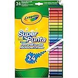 Crayola SUPERTIPS-Pennarelli Lavabili per Bambini a Punta Media, per Scuola e Tempo Libero, 24 colori, Assortiti, Pezzi, 7551
