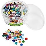 Rayher 14794999 Assortiment de pierres de mosaïque, multicolore, verre souple, transparent, brillant,carrées 1x1cm, 1 pot d'e