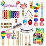 Bigear Toddler Musical Instruments 15 Types 22pcs Musical Percussion Instruments Toy Set Including Xylophone Flute...
