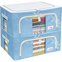 BlushBees® Living Box - Closet Organizer Cloth Storage Boxes for Wardrobe - 44 Litre, Pack of 2, Blue