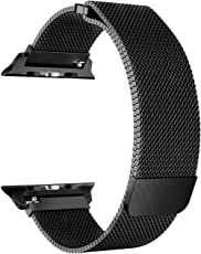 M@SKED Apple iWatch Band - Premium Stainless Steel Milanese Loop Replacement Strap with Adjustable Magnetic Lock for iWatch Series 1 2 3, Nike Sports Edition