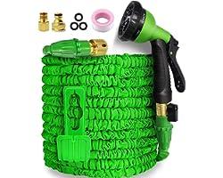Garden Hose,Hose Pipe Expandable Hose 50FT Heavy Duty Flexible Leakproof Hose High-Pressure Water Spray Nozzle & Bag & Plasti