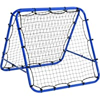 HOMCOM Baseball Rebounder Kickback Tor Rückprallwand Netz beidseitiger Rückprall Faltbar Stahl+PE Blau 100 x 95 x 90 cm