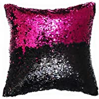 Rockford™ Cushion Cover 16x16 Set of 2 Sequin Mermaid Throw Pillow Cover with Color Changing Reversible Paulette Pillow…
