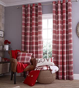 Red Curtains amazon red curtains : Catherine Lansfield Twill Check Curtains 90x90 ,Red,: Amazon.co.uk ...