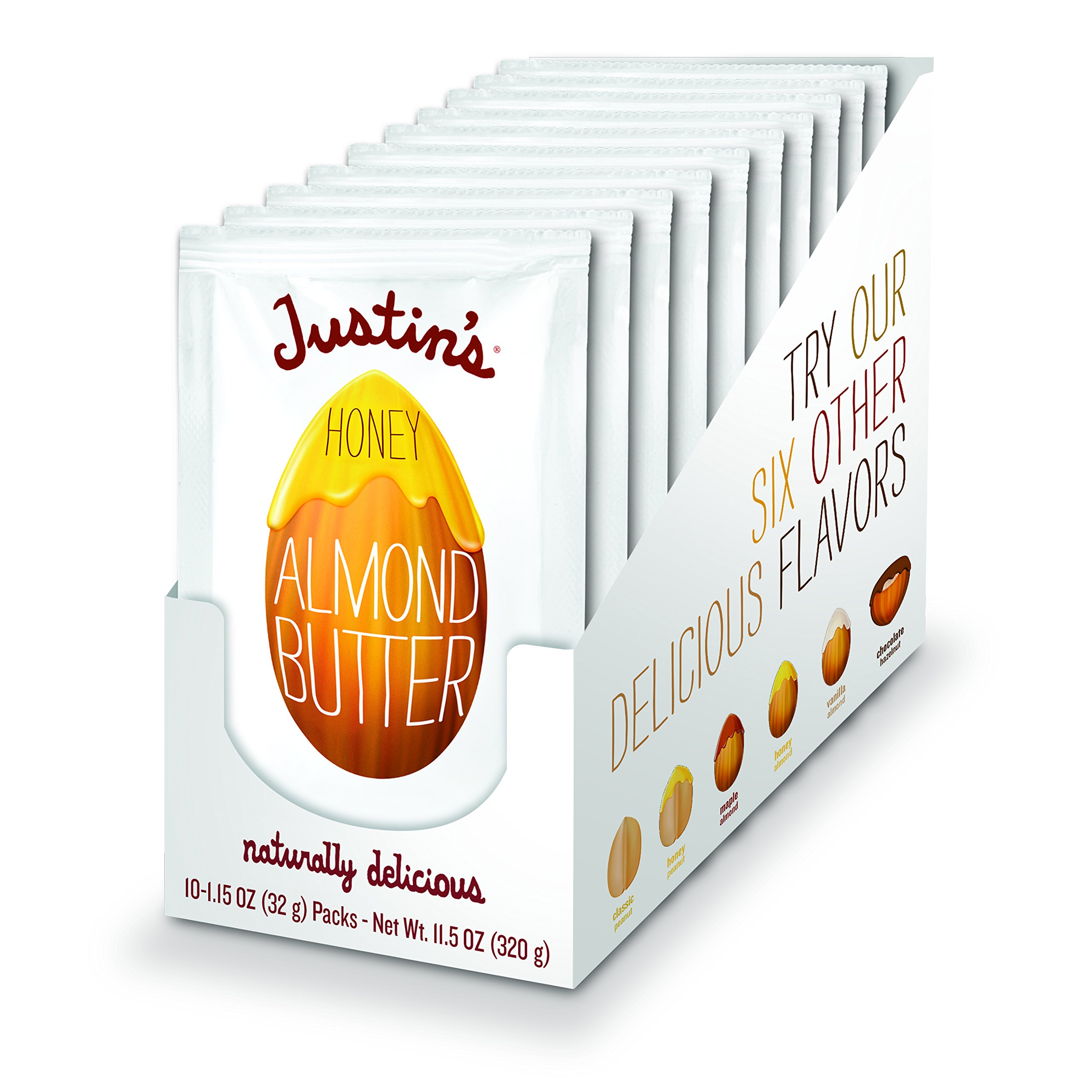 Justin's Almond Butter, Honey Squeeze Packs, 1.15 Ounce (Pack of 10) by Justin's Nut Butter