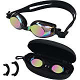 BEZZEE PRO Kinderzwembril - UV-bestendige lekvrije spiegelbril - gekleurde lens met opbergkoffer en 3 verwisselbare neusbrugg