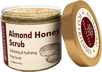 Almond Honey Face Scrub Wash for Dry & Sensitive Skin, 100 g | Hydrating & Exfoliating | Brighten Dull Skin | Aloe Vera | All Skin Types | Exfoliator | Cleanser | Chemical Free | Natural |