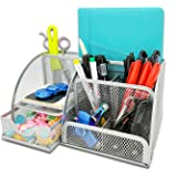 MDHAND Desk Organizer and Accessory, Mesh Office Organization,Desk Organizers and Storage with Drawer (Silver)