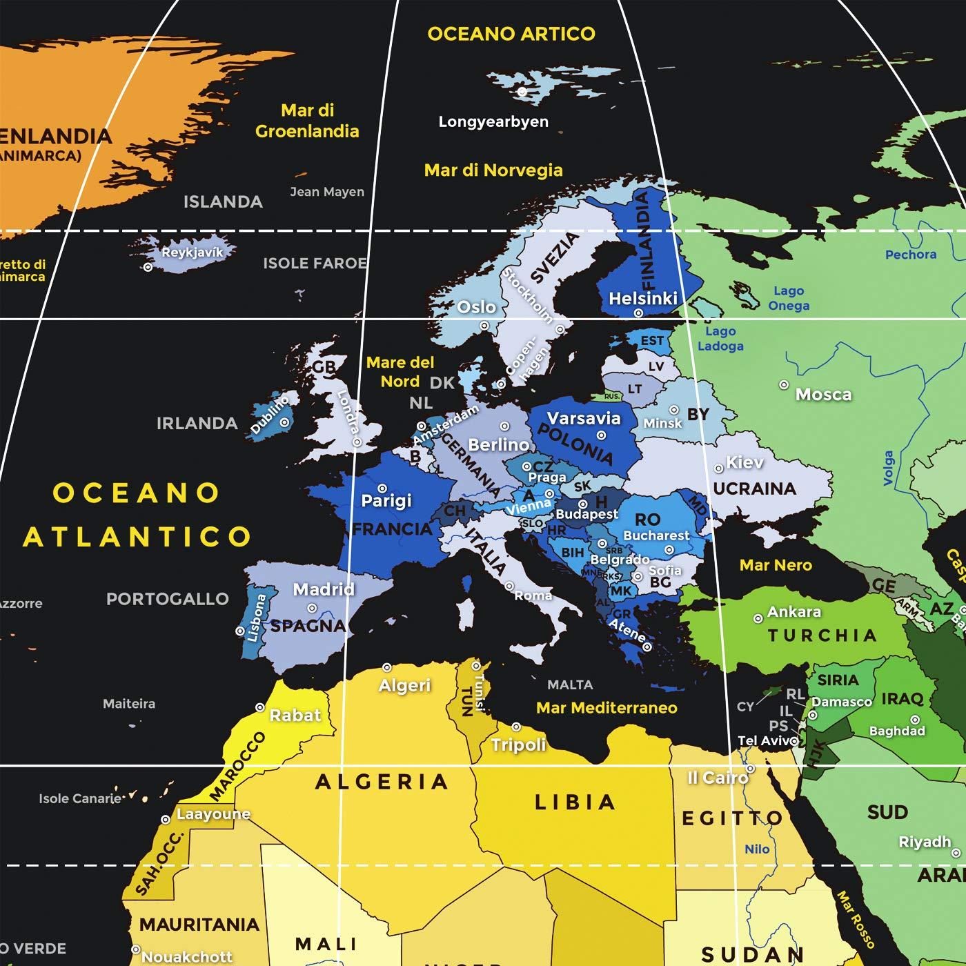 Cartina Geografica Del Mondo Grande.Mappa Del Mondo Da Grattare Mup Design Italiano Grande