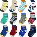 Baby Boys Girls Anti Slip Socks - 12 Pairs Cotton Cute Trainning Slipper Grip Toddler Children Fun Socks Soft Breathable…