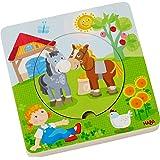 HABA 303768 - Holzpuzzle Bauernhof-Welt | Puzzlespaß in 5 Schichten | Holzspielzeug ab 12 Monaten | Stabile Holzteile mit bunten Tiermotiven