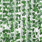 Floralsecret 90Ft 12 Strengen Kunstmatige Wijnstokken Nep Klimop Bladeren Opknoping Garland Bruiloft Muur Decor (Klimop Blade