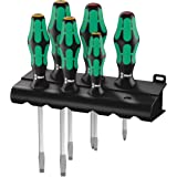Wera 05007680001 Kraftform Plus 334 SK 6 Screwdriver Set and Rack, Lasertip, 6-Piece