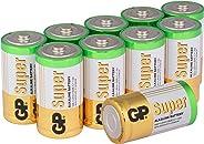 GP Batteries GP14A Süper Alkalin LR14/E93/C Orta Pil, 1.5 Volt, 10 Adet, Bakır/Beyaz/Yeşil
