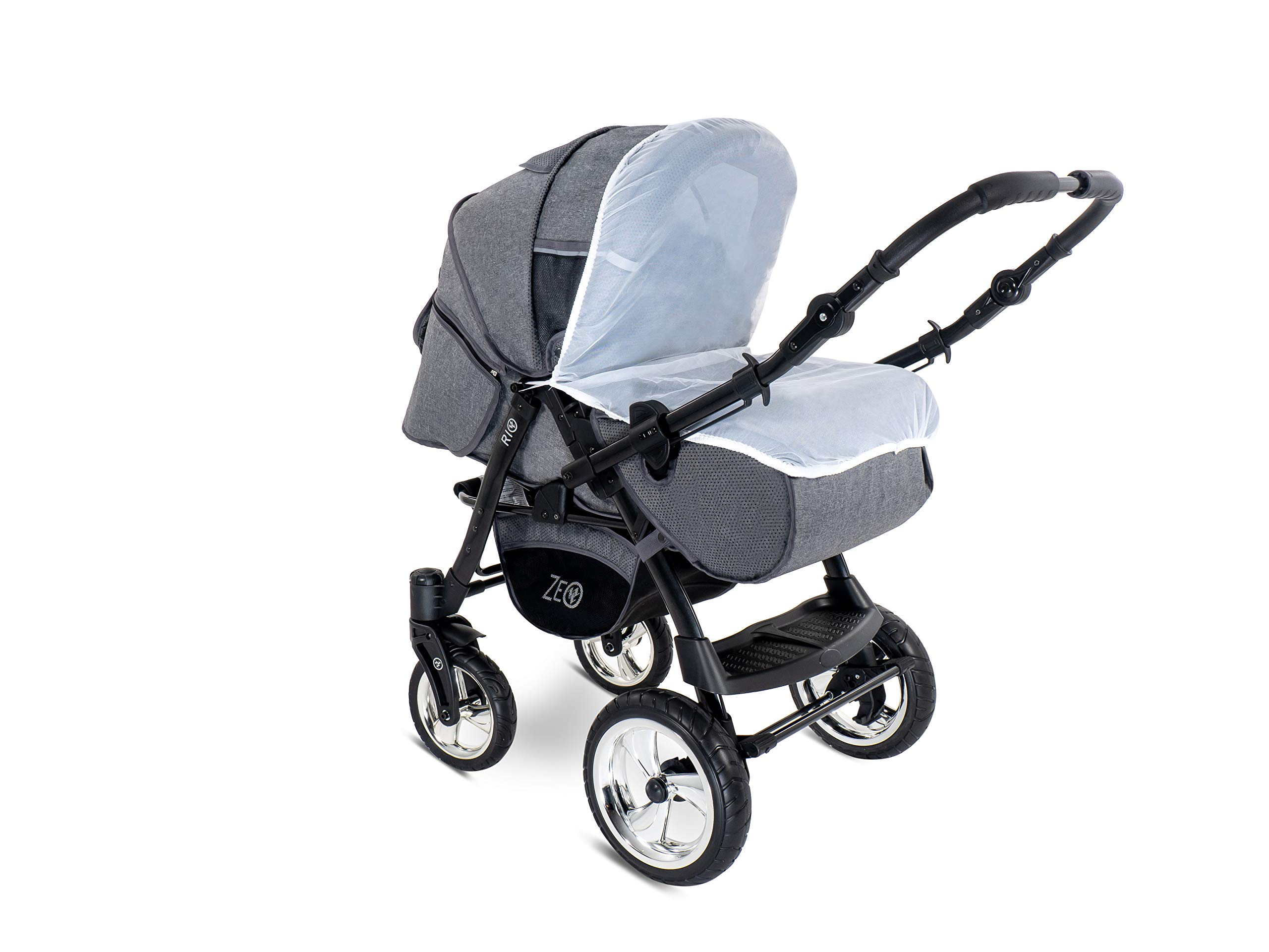Baby Pram Zeo Rio 3in1 Set - All You Need! carrycot Gondola Buggy Pushchair car seat (R3) Zeo 3 in 1 combination stroller complete set, with reversible handle to the buggy, child car seat or baby carriage Has 360 ° swiveling wheels, two-fold suspension, four-stage backrest, five-position adjustable footrest and a five-point safety belt The stroller can be easily converted into other functions and easy to transport 8
