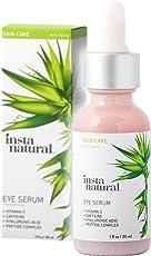 InstaNatural Eye Serum for Dark Circles & Puffiness with Vitamin C, Caffeine, Plant Stem Cells, Astaxanthin & Kojic Acid - 1Oz