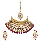 Matushri Art Indian Traditional Gold Plated Kundan Pearl Antique Fancy Choker Necklace Set for Women and Girls.